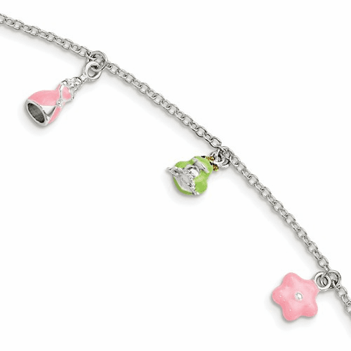 Ss Children's Enameled Princess/frog/flower Bracelet Qg3522-5.5