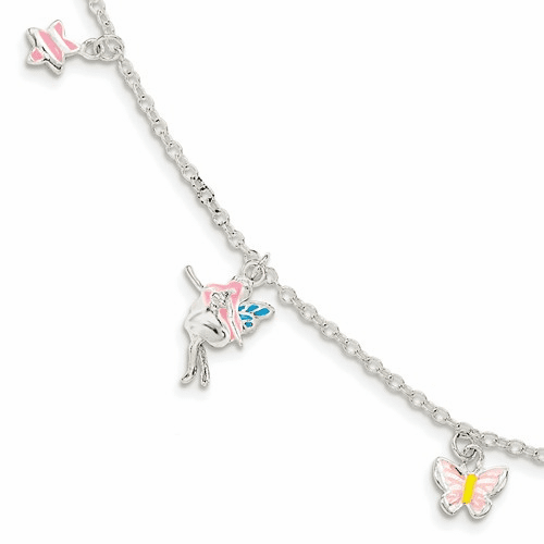 Ss Children's Enameled Star/fairy/butterfly Bracelet Qg3508-5.5