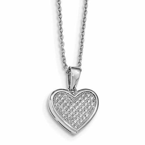 Ss & Cz Brilliant Embers Polished Heart Necklace Necklace Qmp136-18