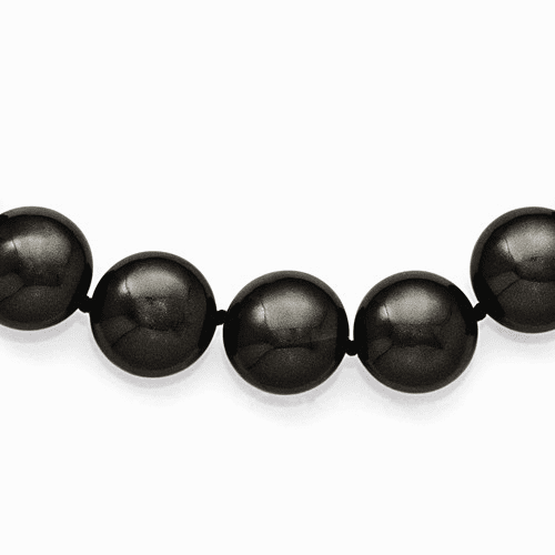 Ss Majestik 14-15mm Coin Black Shell Bead Clasp Necklace Qmjnc14b-18