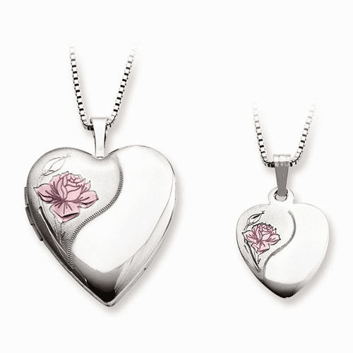 Ss Polished And Satin Rose Heart Locket & Pendant Qls448set