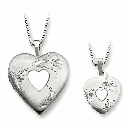 Ss Rhodium-plated Polished And Satin Butterfly Heart Locket Qls443set