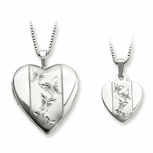 Ss Rhodium-plated Polished And Satin Butterfly Heart Locket Qls445set