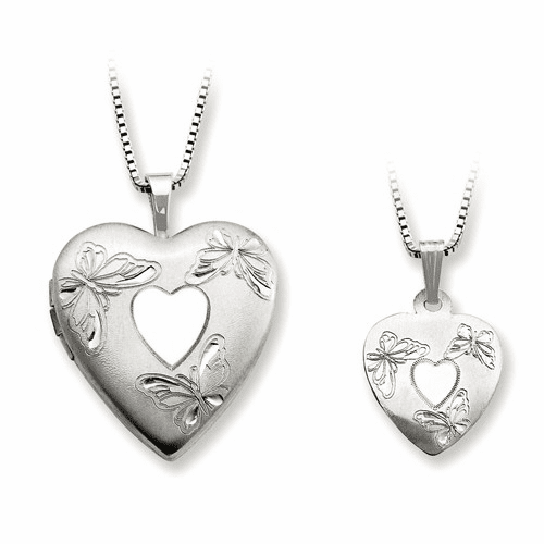 Ss Rhodium-plated Satin Butterfly Heart Locket & Pendant Qls451set