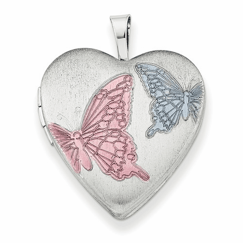 Ss Rhodium-plated With Enameled Butterflies Heart Locket Qls230-18