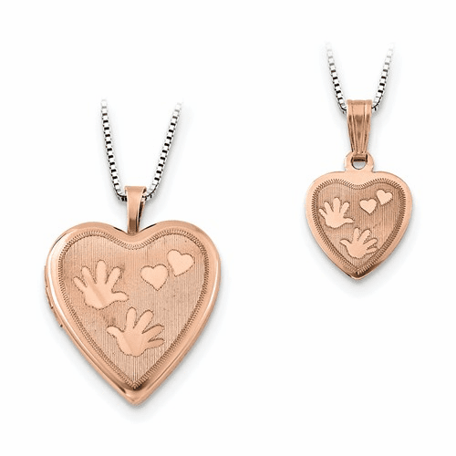 Ss Rose Gold-plated Hand And Hearts Locket & Pendant Qls661set