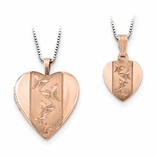Ss Rose Gold-plated Satin Butterfly Heart Locket Qls660set