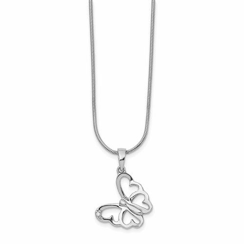 Ss White Ice .01 Ct Diamond Butterfly Necklace Qw383-18