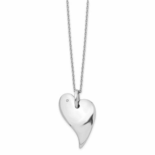 Ss White Ice .01ct. Diamond Heart Necklace Qw268-18