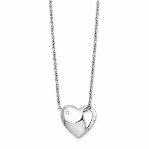 Ss White Ice .01ct. Diamond Heart Necklace Qw289-18