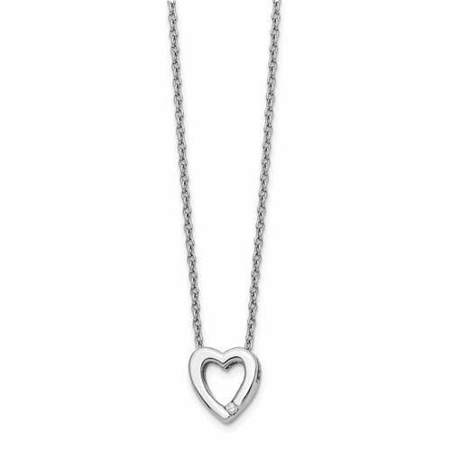Ss White Ice .02ct Diamond Heart Necklace Qw161-18