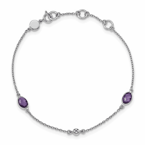 Ss White Ice Amethyst And .01 Ct Diamond Bracelet Qw368-7.5