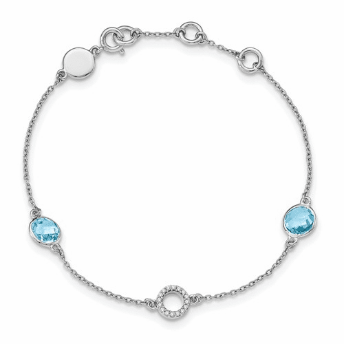 Ss White Ice Blue Topaz And  .05 Ct Diamond Bracelet Qw361-7.25