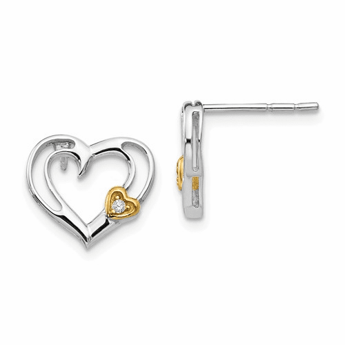 Ss White Ice Diamond Gold-plated Heart Earrings Qw407