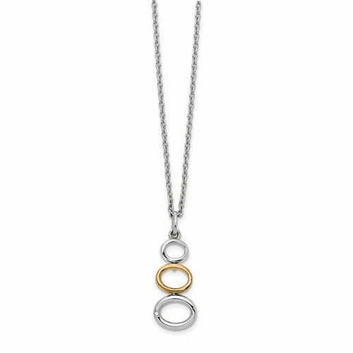 Ss White Ice Gold-plated And 1/2 Pt Diamond Necklace Qw381-18
