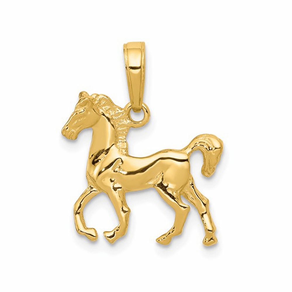 Standing Horse Pendant - 14K Yellow Gold