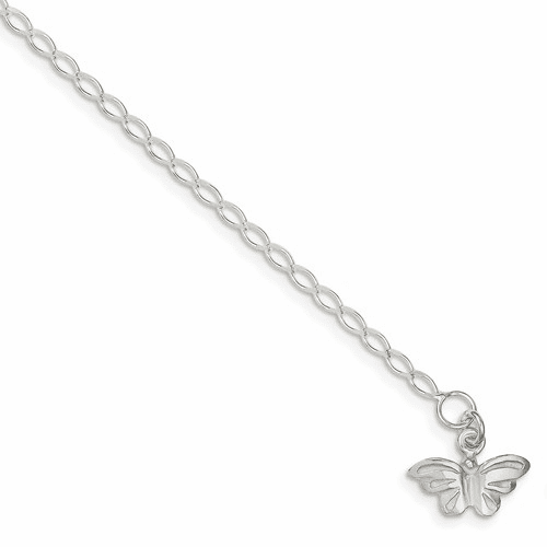 Sterling Silver 10inch Solid Polished Butterfly Anklet Qg441-10