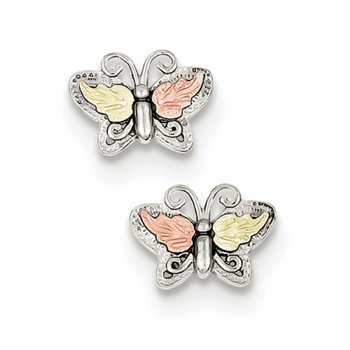 Sterling Silver & 12k Butterfly Post Earrings Qbh133