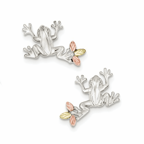 Sterling Silver & 12k Frog Post Earrings Qbh145