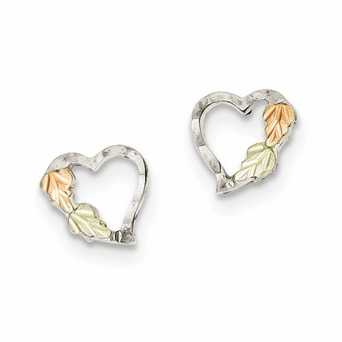 Sterling Silver & 12k Heart Post Earrings Qbh114