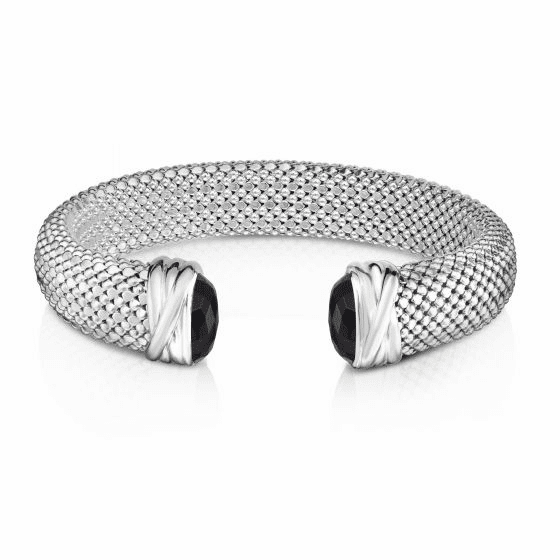 Sterling Silver 12mm Popcorn Cuff Bracelet with faceted Black Onyx