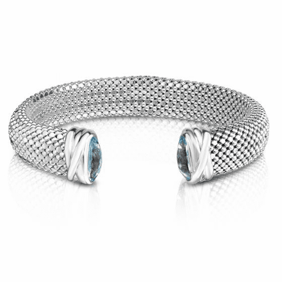 Sterling Silver 12mm Popcorn Cuff Bracelet with faceted Blue Topaz