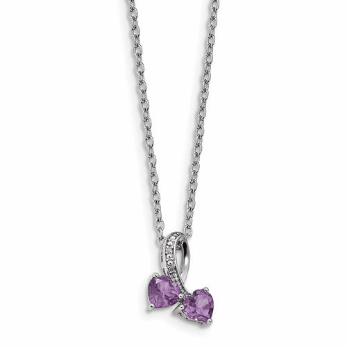 Sterling Silver & 14k Amethyst And Diamond Heart Necklace Qg2709-17