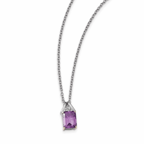 Sterling Silver & 14k Amethyst And Diamond Necklace Qg2721-18