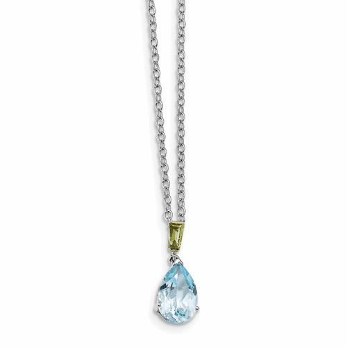 Sterling Silver & 14k Sky Blue Topaz And Peridot Necklace Qg2738-18