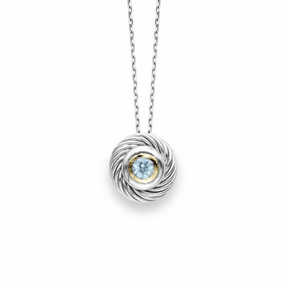 Sterling Silver/18k Gold Italian Cable Round Blue Topaz Pendant