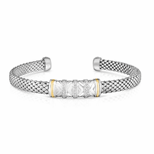 Sterling Silver/18k Gold Popcorn Cuff Bracelet with .14ct Diamond Bars