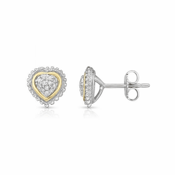 Sterling Silver & 18k Gold Popcorn Heart Earrings with .12ct Diamonds