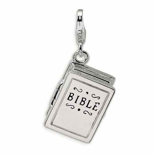 Sterling Silver 3-d Enameled Bible W/lobster Clasp Charm Qcc517