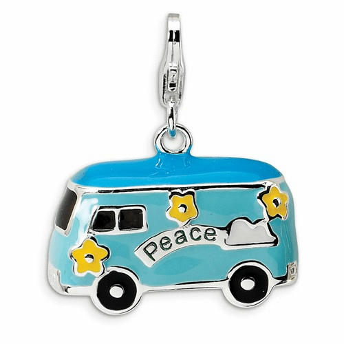 Sterling Silver 3-d Enameled Peace Bus W/lobster Clasp Charm Qcc490