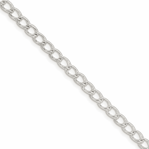 Sterling Silver 4.5mm Half Round Wire Curb Chain Qpe58-8