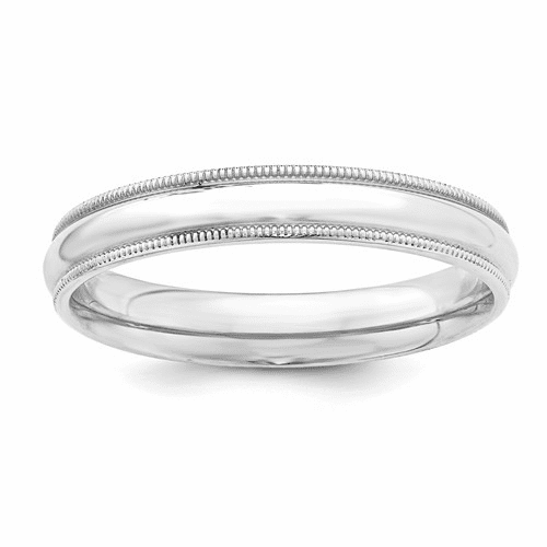 Sterling Silver 4mm Milgrain Comfort Fit Band Qcfm040-10