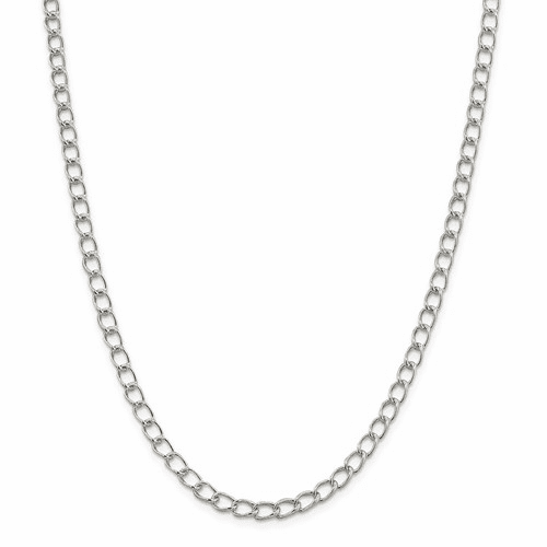 Sterling Silver 5.3mm Half Round Wire Curb Chain Qpe59-7