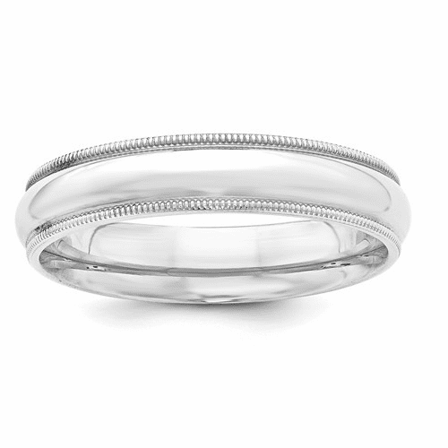 Sterling Silver 5mm Milgrain Comfort Fit Band Qcfm050-7.5