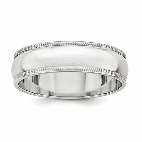 Sterling Silver 6mm Half Round Milgrain Band Qwm060-10.5