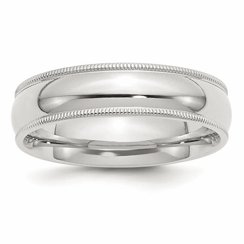 Sterling Silver 6mm Milgrain Comfort Fit Band Qcfm060-10