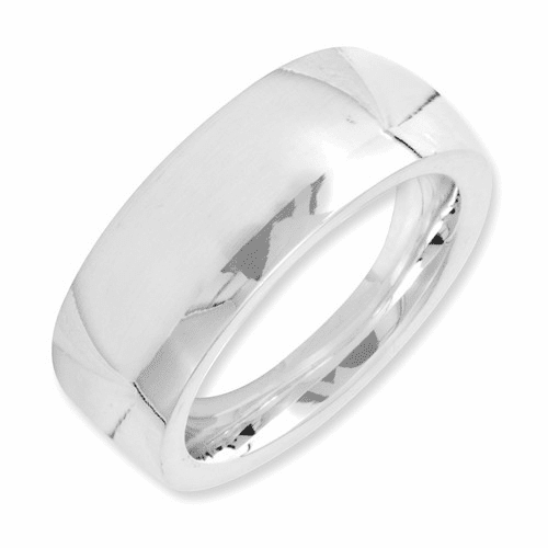 Sterling Silver 7mm Comfort Fit Band Qcf070-10.5