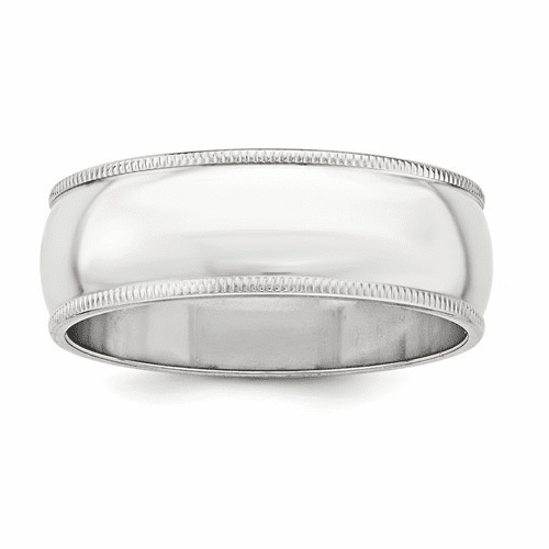 Sterling Silver 7mm Half Round Milgrain Band Qwm070-9.5