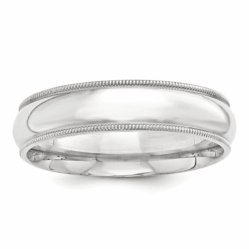 Sterling Silver 7mm Milgrain Comfort Fit Band Qcfm070-10.5