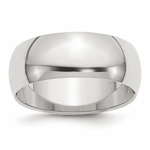 Sterling Silver 8mm Half-round Band Qwh080-10