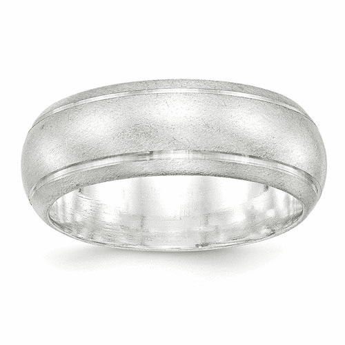 Sterling Silver 8mm Satin Finish Band Qsfb080-8
