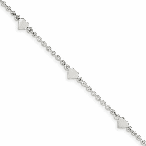 Sterling Silver 9 Polished Heart With 1in Ext. Anklet Qg2812-9