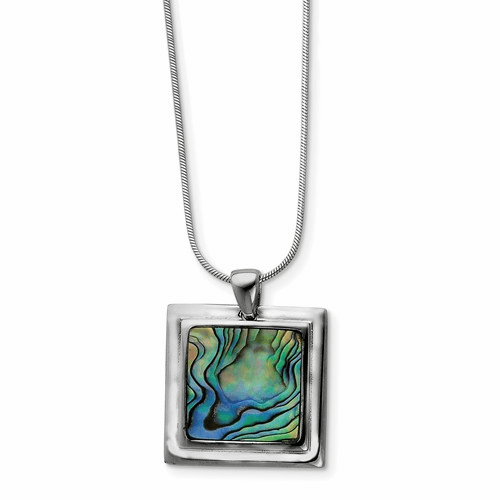 Sterling Silver Abalone Pendant Necklace Qh698-18