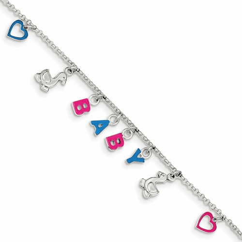 Sterling Silver Adjustable Enameled Baby Charm Bracelet Qg2572-6