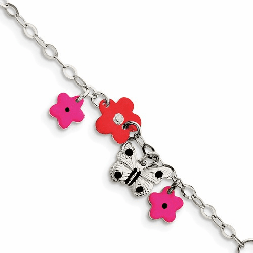 Sterling Silver Adjustable Enameled Baby Charm Bracelet Qg2574-6