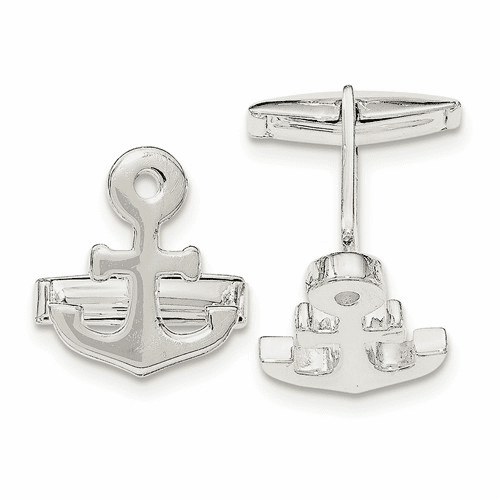 Sterling Silver Anchor Cuff Links Qq561